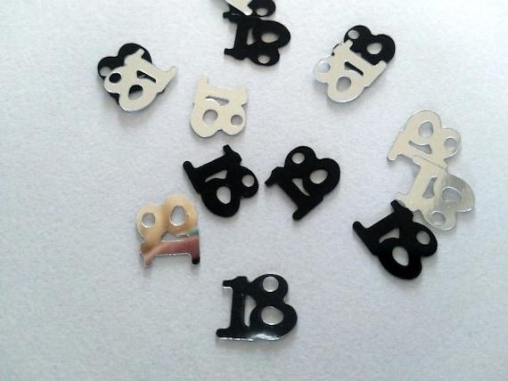 100 18th Birthday Decorations Black And Silver Confetti
