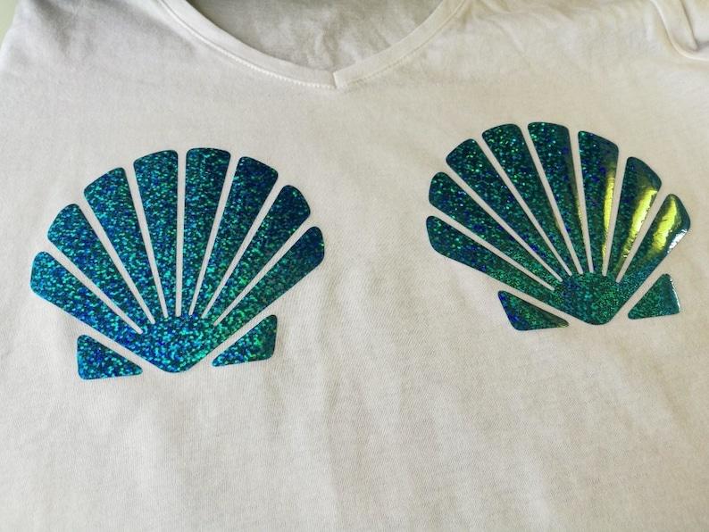 d795f4e49a310 Ariel costume DIY ariel bra tank top mermaid glitter iron on