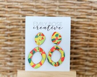 Jungle Fever Hoop Earrings, oval dangle earrings, modern earrings, Terrazzo Earrings