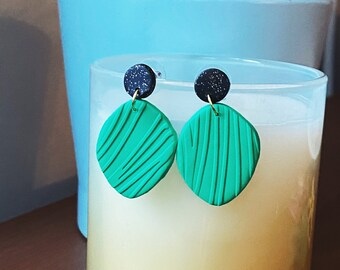 Leafy Green Dangle Earrings, Black and Gold, Textured Earrings, Plant Lover Gift