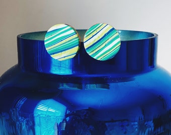 Striped Circle Earrings, Geometric Stud Earrings, Textured Earrings, Ocean-inspired Earrings