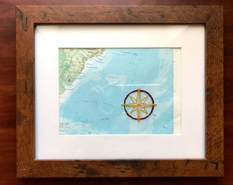 Custom Compass Rose Hand Embroidered Vintage Map - Vintage Atlas - Contemporary Embroidery - Adventure Travel Guide - Explore