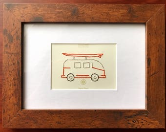 VW Van Surf's Up! - Mixed Media Hand Embroidered Paint Chips