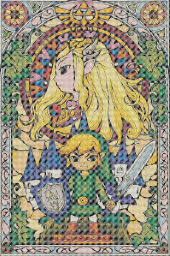 Legend Of Zelda Inspired Counted Cross Stitch Pattern Wind Waker Stained Glass Pixel Art Perler Hama Fuse Bead Pattern Bead Weaving