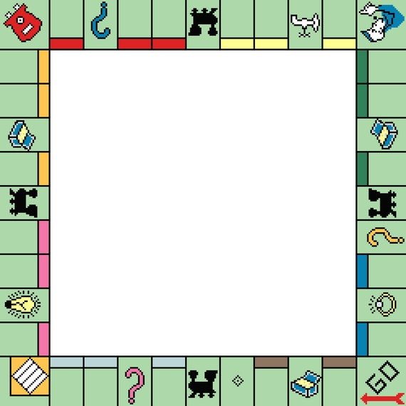 Monopoly Game Board Counted Cross Stitch Pattern Picture Frame Pixel Art Pattern Gameboard Perler Hama Fuse Bead Pattern Bead Weaving