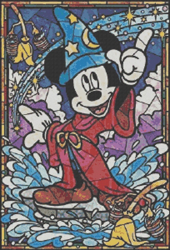 Stained Glass Mickey Mouse Inspired Counted Cross Stitch Pattern Disney Sorcerers Apprentice Pixel Art Disneys Fantasia Bead Weaving