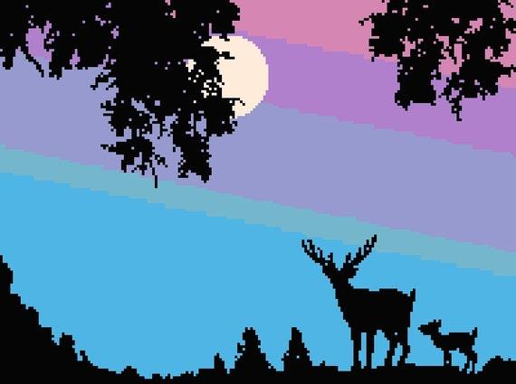 Moonlight Deer Counted Cross Stitch Pattern Deer Pixel Art Pattern Moon Perler Hama Fuse Bead Pattern Deer Bead Weaving Pattern