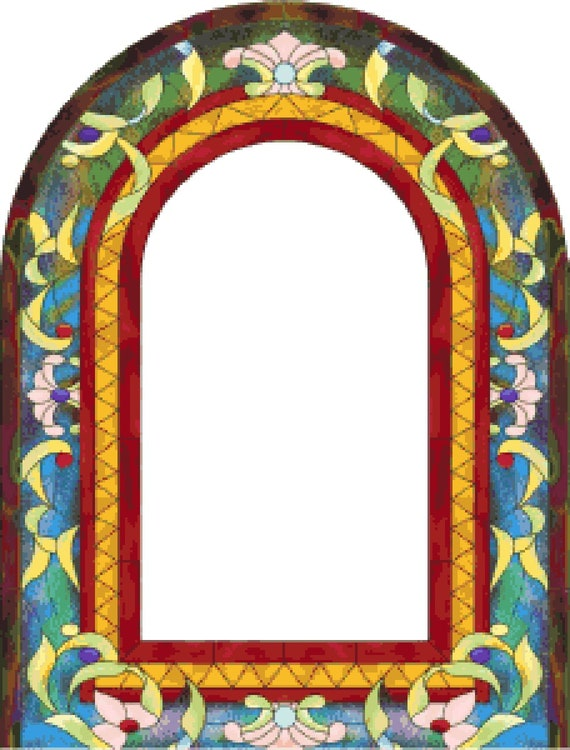 Stained Glass Frame Counted Cross Stitch Pattern Picture Etsy
