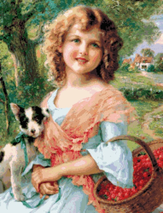 Vintage Victorian Young Girl with Her Puppy Dog Counted Cross Stitch Pattern