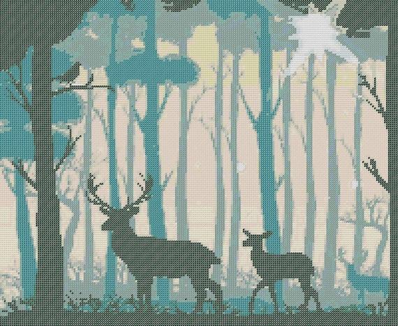 Forest Deer Counted Cross Stitch Pattern Deer Pixel Art Pattern Forest Perler Hama Fuse Bead Pattern Bead Weaving Pattern