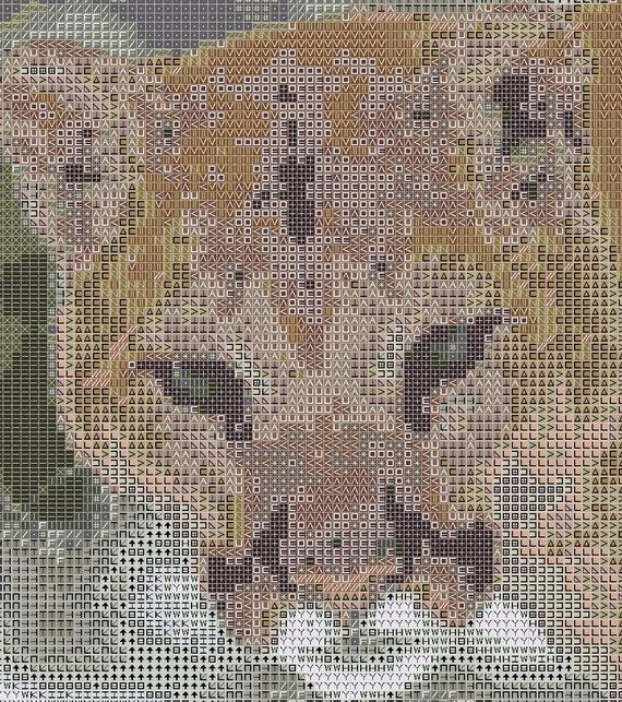 Cougar Counted Cross Stitch Pattern Mountain Lion Pixel Art Pattern Panther Perler Hama Fuse Bead Pattern Bead Weaving Pattern
