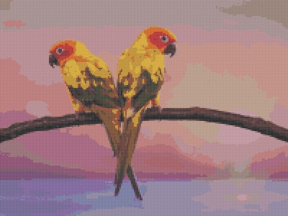 Conures Counted Cross Stitch Pattern Tropical Birds Pixel Art Pattern Parrots Perler Hama Fuse Bead Pattern Bead Weaving Pattern