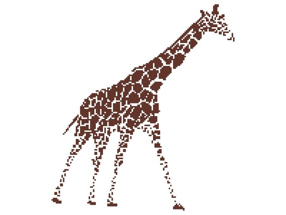 Giraffe Outline Counted Cross Stitch Pattern Giraffe Pixel Etsy Cool Animal Perler Bead Patterns