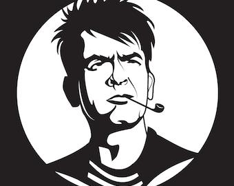 Charlie Sheen Headshot Vinyl Sticker (White, Red, Pink, Black, Silver, Or Blue)