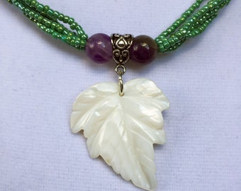 Amethyst and Mother of Pearl Leaf pendant necklace, green beaded multi strand necklace feminine, purple and green gift for her