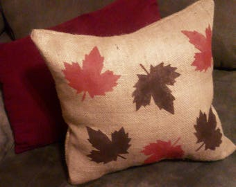 Falling Leaves Pillow, Burlap Fall Pillow, Fall Decor, Thanksgiving Pillow, Autumn Pillow, Thanksgiving Decor, Burlap Decor, Burlap Pillow