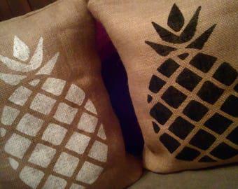 Pineapple Pillow, Burlap Pineapple Pillow, Burlap Pillow, Pineapple Decor, Burlap Decor, Burlap Pineapple