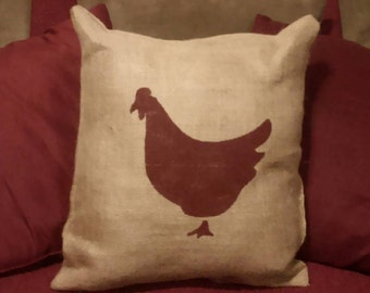 Burlap Chicken Pillow, Burlap Rooster Pillow, Chicken Silhouette Pillow, Farm Pillow, Rustic decor, Country Decor, Burlap, Primitive Decor