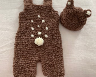 Handmade baby fawn deer costume matching beanie set ears tail outfit 12-24  months toddler clothing 3ea6a1d1a08