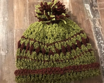 Handmade olive green and brown beanie with pom pom adults unisex mens  womens striped warm cozy knit crochet army green hat cad7ee12f935
