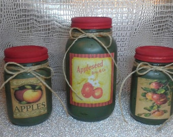3 piece Rustic Mason jar decor / Apples/ kitchen decor