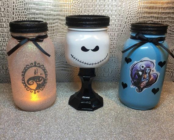 Nightmare Before Christmas Jack And Sally Mason Jar Decor Set Party Seasonal Halloween Bedroom Bathroom Gift Home Mason Jar Decor
