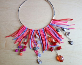 Necklace fringes, extravagant necklace, semiprecious gemstone necklace, colorful choker, fuchsia necklace, summer, Valentine's Day