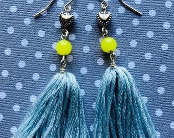 Tassel blue and yellow Dangle Earrings