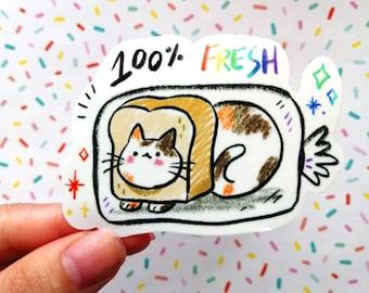 100% Fresh Cat Sticker, Vinyl Sticker, Kawaii Cat Sticker, Vinyl Sticker, Chonker, Fat Cat Sticker, Cat Loaf Sticker, Kawaii Kitty