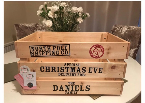 Christmas Eve Crate.Christmas Eve Crate Christmas Eve Box Childrens Christmas Personalised Crate Childrens Sack Wooden Crate Vintage Style