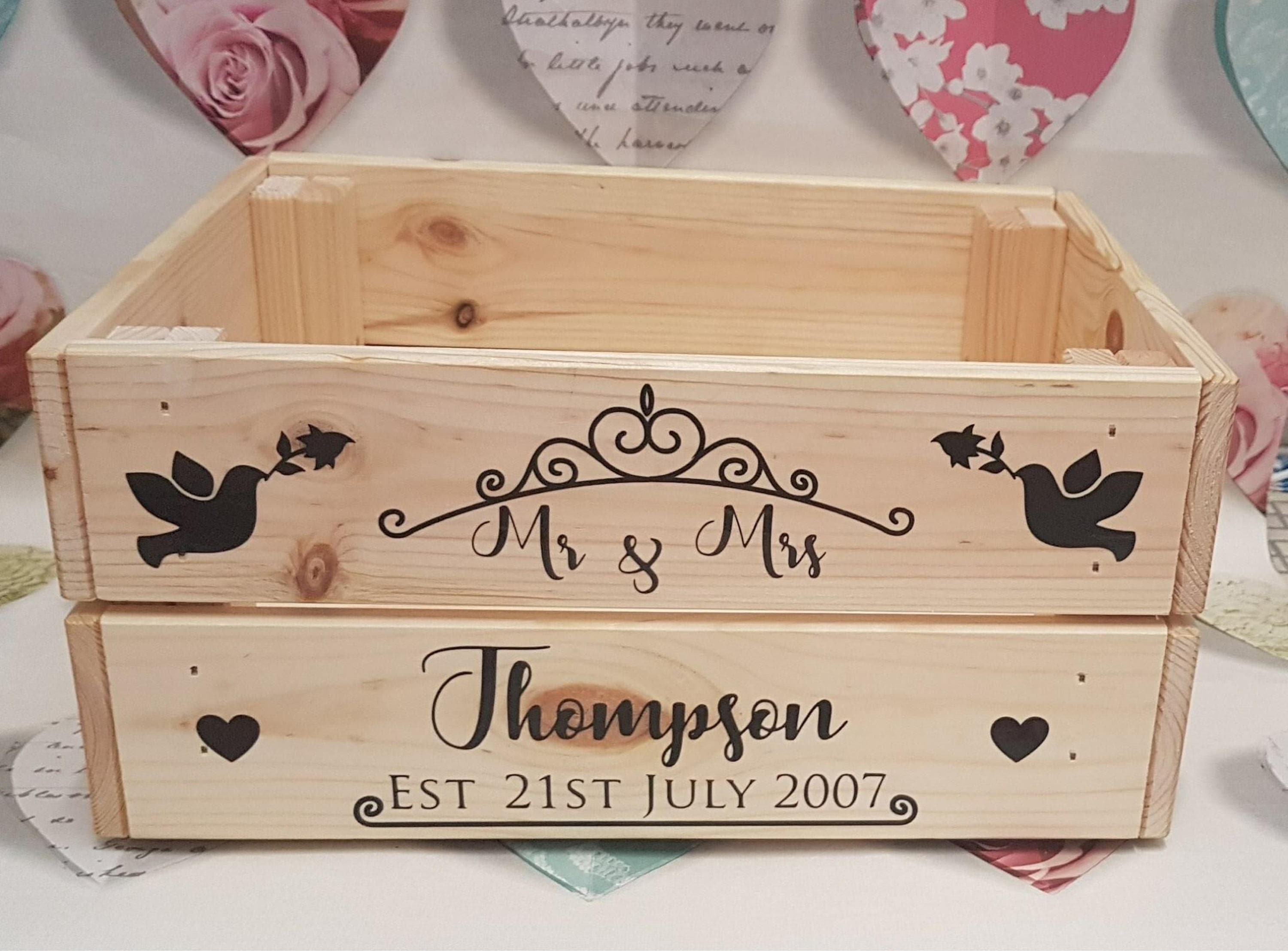 personalised crate, toy box, storage box, wooden crate, story book box,  wedding day keepsake, toy box, toy storage, home storage