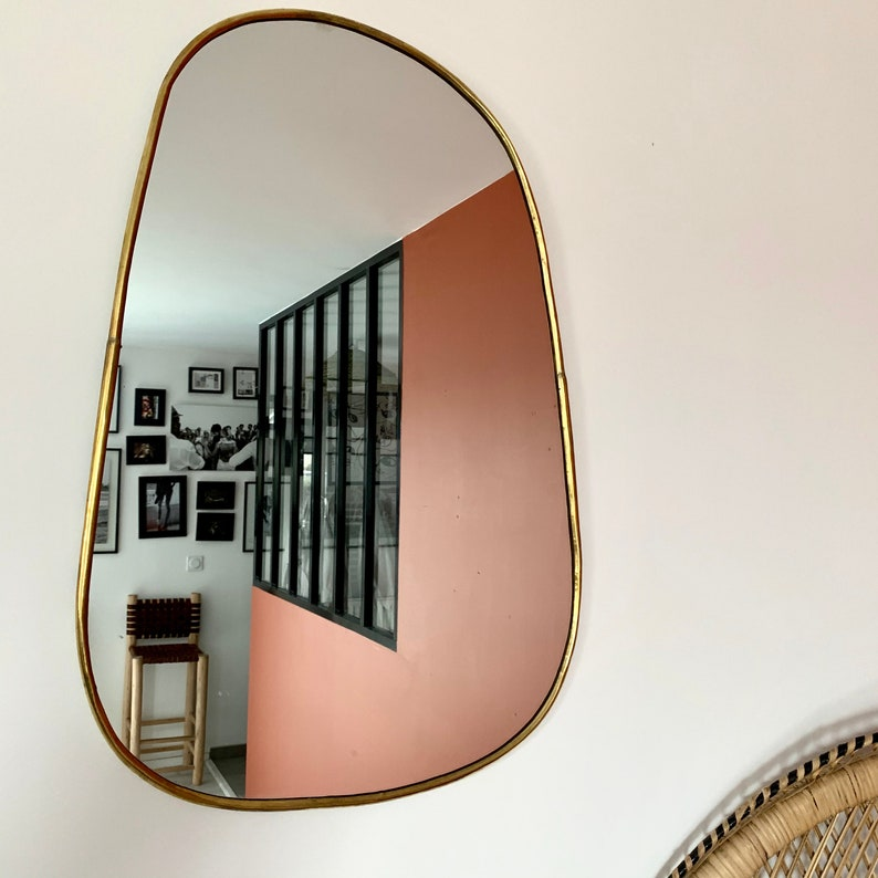 Irregular golden brass mirror image 0