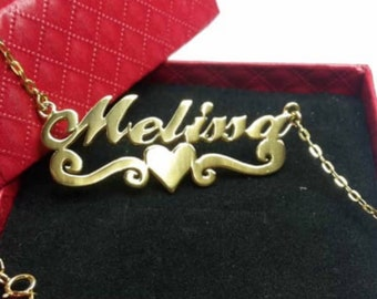 74bc730cd9e64 Personalized Script Name Necklace. Silver Name Necklace. Name Pendant