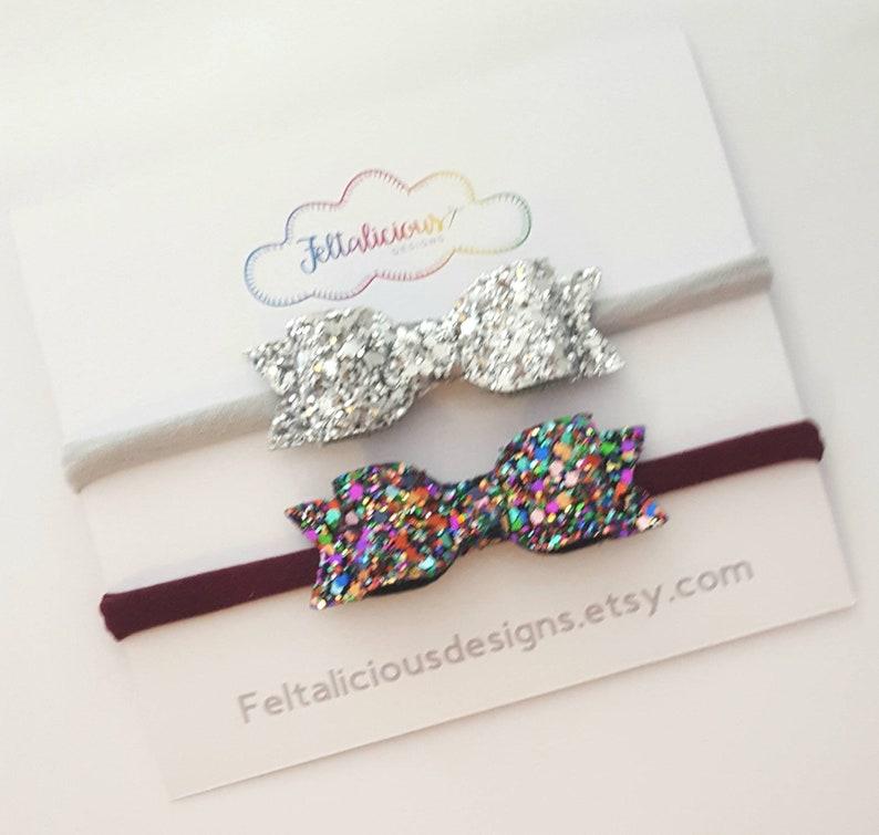 A set of glitter headbands