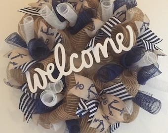 Summer wreath, welcome, deco mesh, blue, sailor, navy, white, jute, anchor, stripe