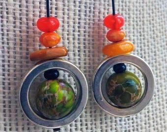 flintstone bling earrings, citrus silver hoops