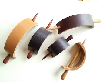 Handmade Leather Hair Stick Barrette in Minimal Style, Leather Hair Pin, Women Hair Slide Multiple Sizes