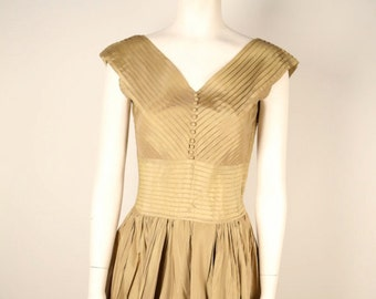 Taupe Pleated Faille Dress from 1950's