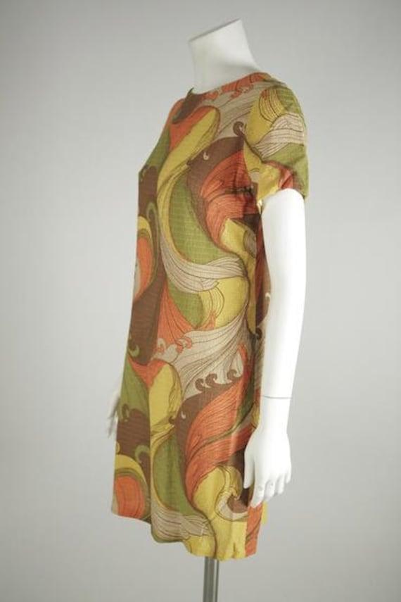 1960s Psychedelic Print Mod Mini Dress - image 2