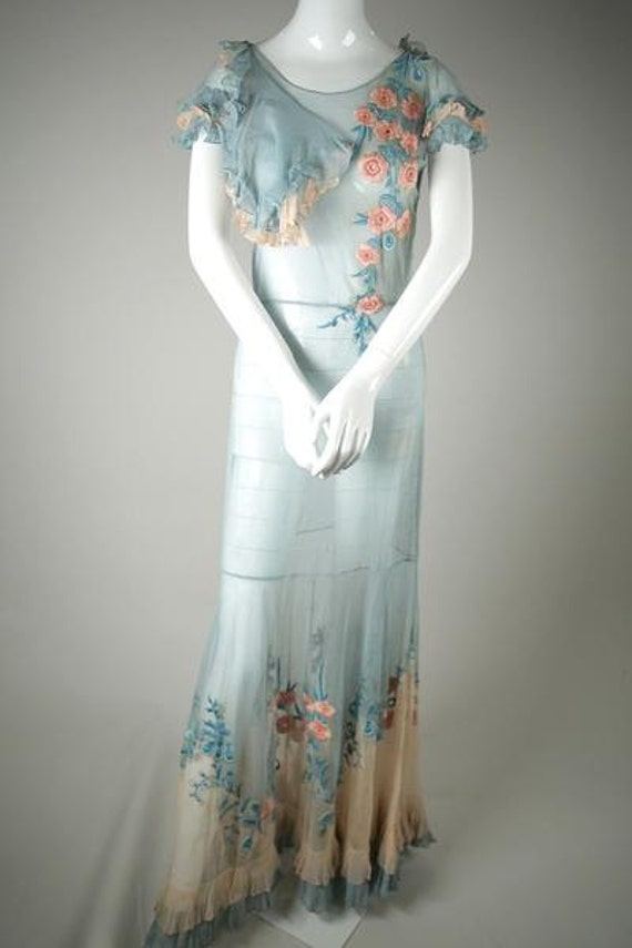 Stunning 1930s Embroidered Two-Toned Silk Tulle Dr
