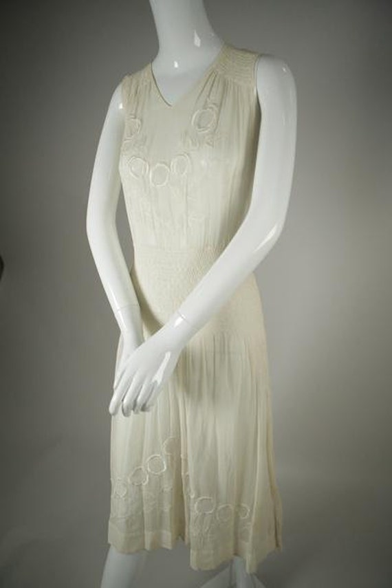 1920s Embroidered Deco Cotton Voile Dress
