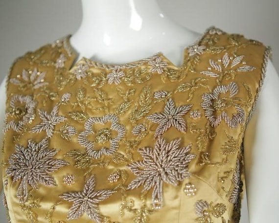 1960s Beaded Satin Two-Piece - image 4