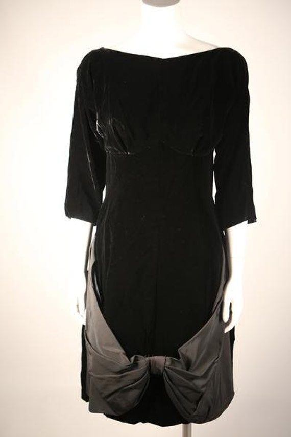 Stunning Black Velvet Boatneck Dress