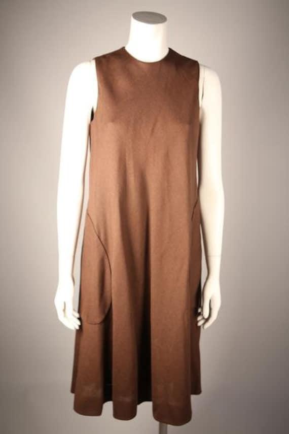 1970s Brown Shift Linen Dress