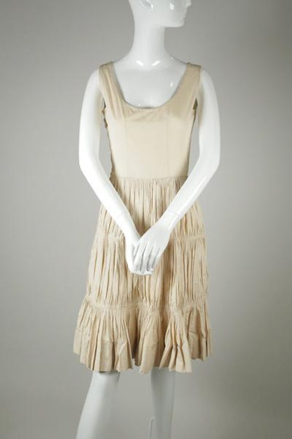 1950s Ruched Cotton Dress
