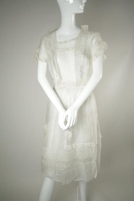 1910's Ruffled Organza Wedding Dress