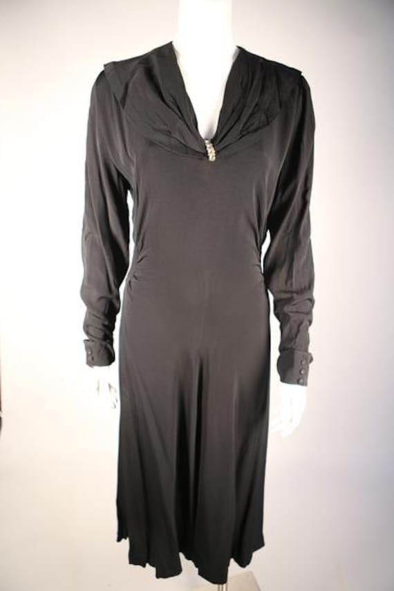 1930s Black Long Sleeve Day Dress