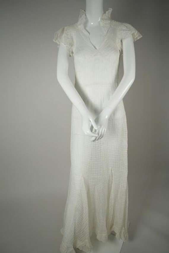 1930s White Cotton Wedding Dress