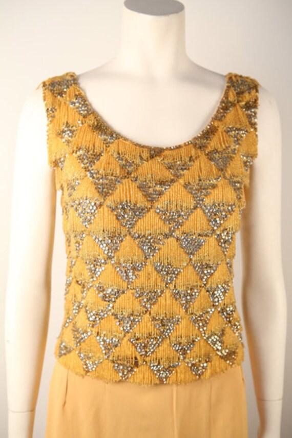1950's Light Tangerine Beaded Sweater Top