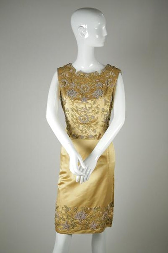 1960s Beaded Satin Two-Piece - image 1